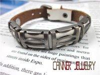 старинные sl157 / lhigh Боливия панк кожа браслет, готический стиль, 100% грудь ручной работы ювелирные изделия, 100% через часть кожа браслет