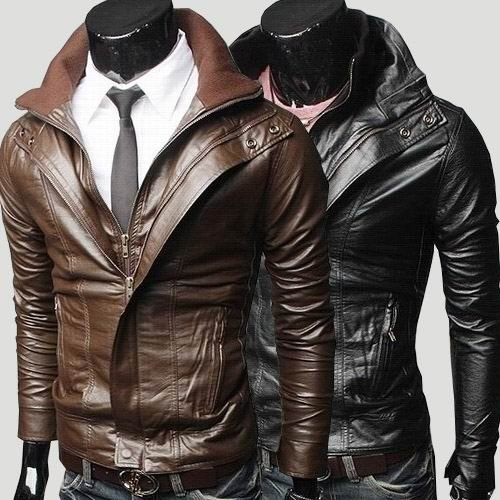 Free Shipping Retail&wholesale Men's Faux Leather Jacket Fit Slim ...