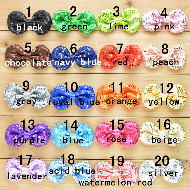 "20pcs/lot Sequin Hair Bows Double-Sided Embroidery Sequins Bow 3.15"" Handmade Fabric flowers For kids Hair Accessories от Aliexpress INT"