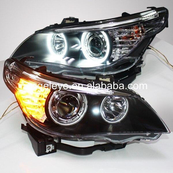 2005-2007 שנה עבור E60 523i 525i 530i LED Angel Eyes ראש אורות ראש מנורה עבור BMW מכונית מקורית עם מנורת הלוגן LF