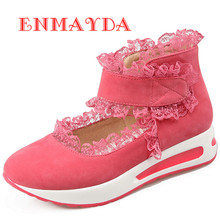 ENMAYES New Fashion Style Women Causal Shoes Small Round Toe Lace Shoes 3 Colors Sexy Red Muffin Bottom Casual Shoes Woman