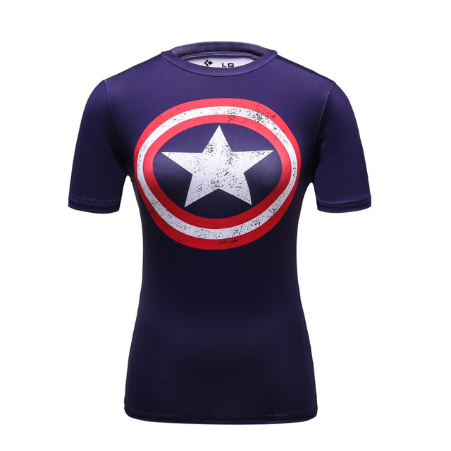 301697221 Compression T Shirts Marvel Women Superhero Superman/Captain America Shirts  Female Gym Fitness Digital Printing Tops Tees