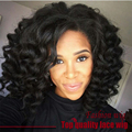 Cheap Sale Brazilian Short Deep Wave Wig Black Wig 180% Density Glueless Synthetic Lace Front Wigs Heat Resistant Hot Selling
