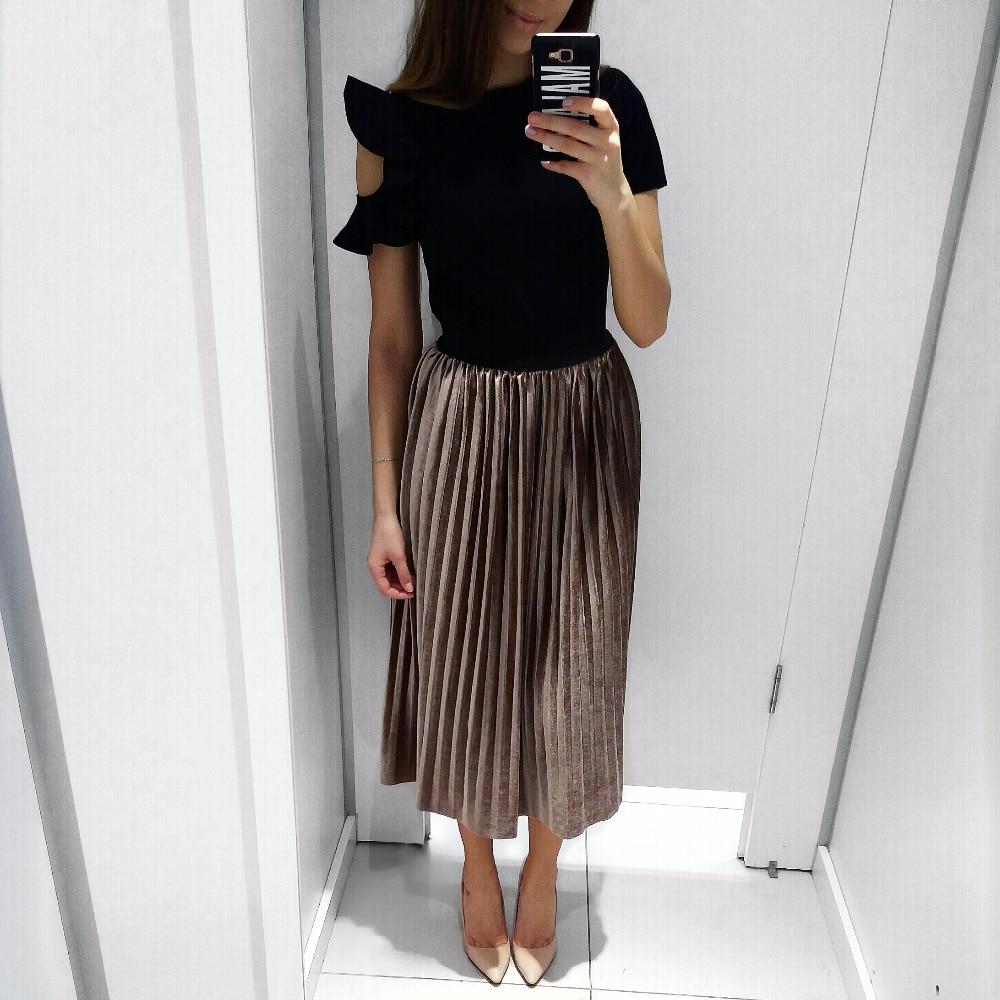 Стильная бархатная юбка плиссе с Алиэкспресс