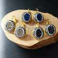 WT-E160 New design fashion earring natural druzy agate round stone with rhinestone paved around mixed color beautiful earrings