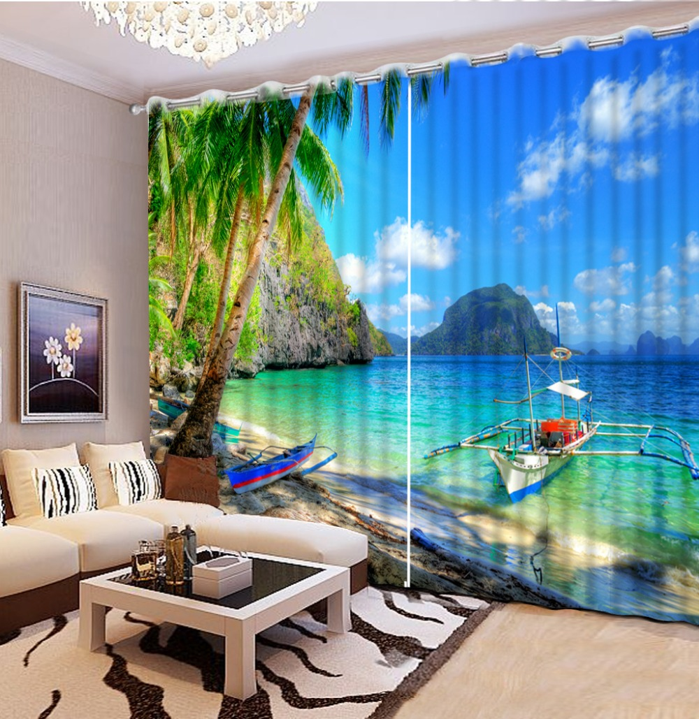 3D Window Curtains For Bedding room fashion curtains for home photo curtains 3d seaside beach home bedroom decoration