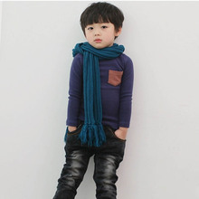 Cotton Toddler Baby Long Sleeve Crewneck T shirt Pocket Deco Boy Girl Shirt Top Clothes Cool