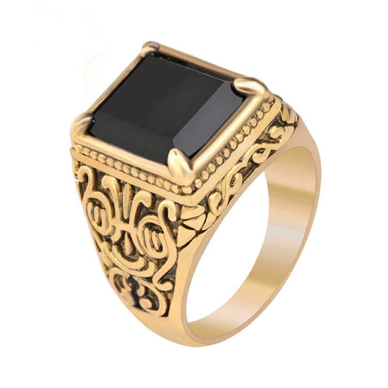 omeng 2017 hot sale retro black ring classic medieval style punk gilded mens rings free shipping - Medieval Wedding Rings