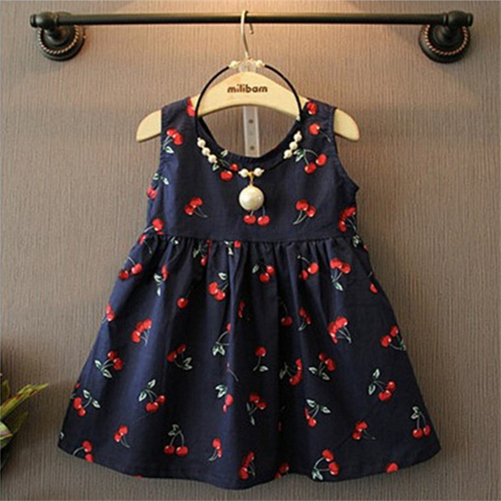 2016 Lovely girls dress sleeveless kids dresses summer cute cherry print girls clothes cotton party princess dress for 1-10yrs