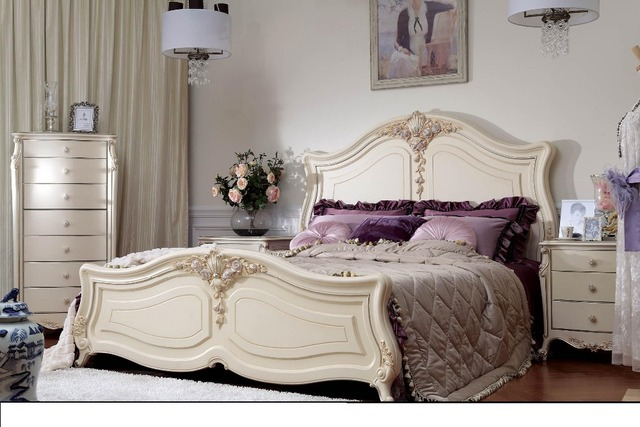 Luxury Bed With Noble Quality And Exquisite Carving Process / Classical Bedroom  Furniture Set With 0402