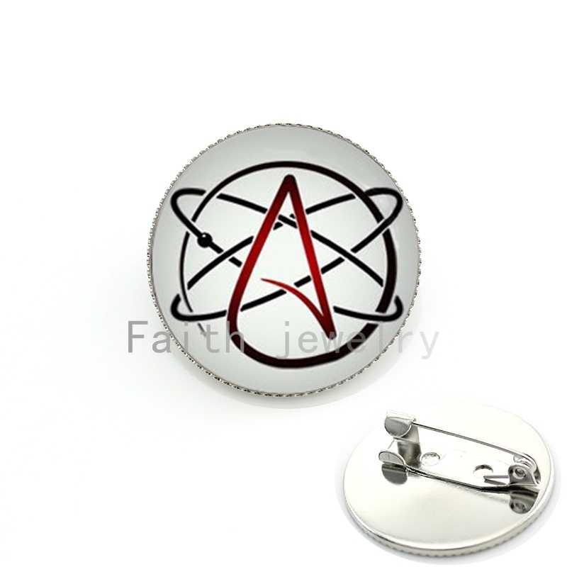 Ateo simbolo perno di metallo stile punk a vapore ateo logo Spille arte da indossare l'ateismo movimento distintivo KC523