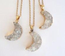 Colgante de media luna de WT N541 para mujer, colgante de media luna con drusa natural en la puerta, con cadena bañada en oro de media luna, joyería