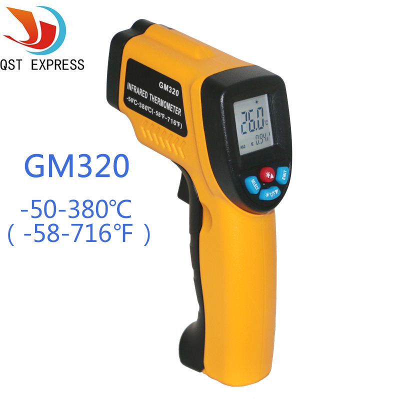 LCD Display Digital Infrared Thermometer Professional Non-contact Temperature Tester IR Temperature Laser Gun GM320  ht 6885 non contact high temperature infrared thermometer backlight lcd display