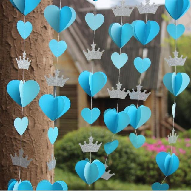 2pcs First Birthday decoration Silver Blue party decorations Paper