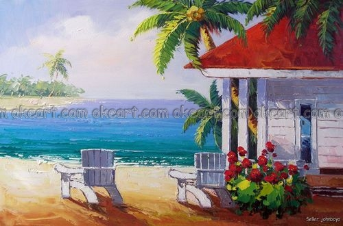 100% Hand Painted Beach House Home Chairs Caribbean Sea Sand Surf Coconut  Palm Oil Painting