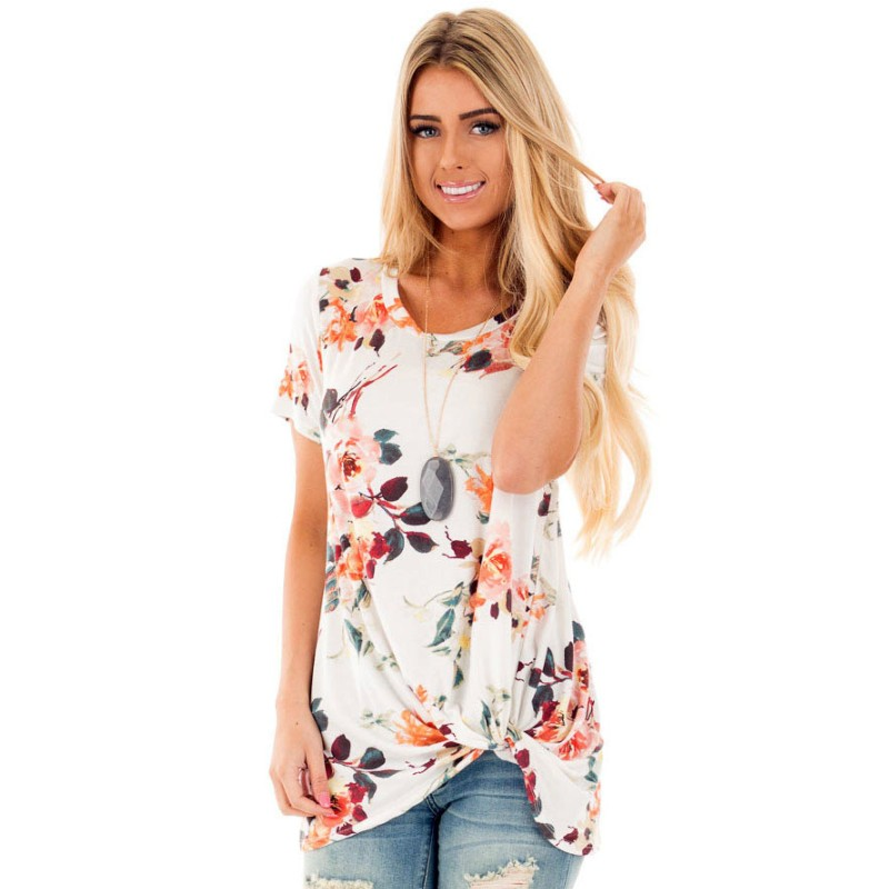 YSMARKET Sexy Women Knot Top Womens Loose Tops Floral Plus Size XXL Tshirt Print Fashion Short