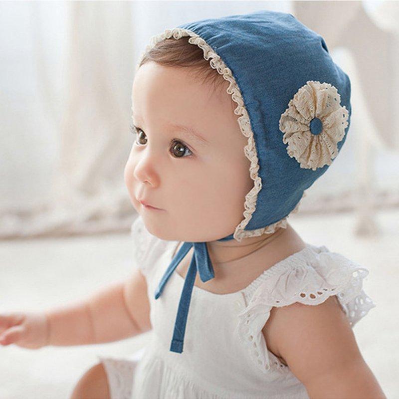 Lovely Toddler Baby Infant Kids Girl Flower Beanie Cap Newborn Cotton Blue Hat For Newborn Baby