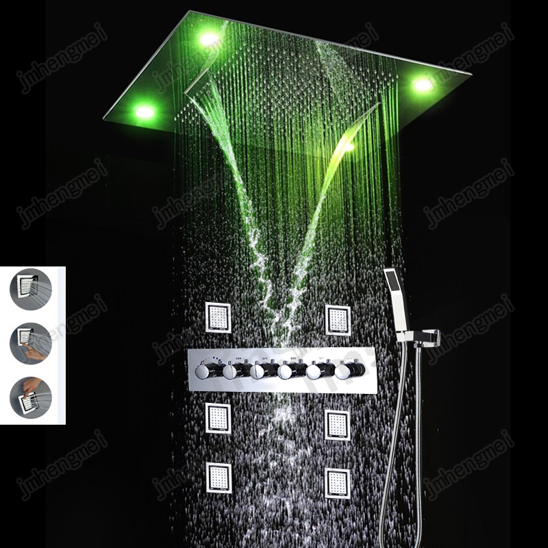 Contemporary 60 80CM Shower Set font b Faucet b font Waterfall Raifall Shower Head LED With