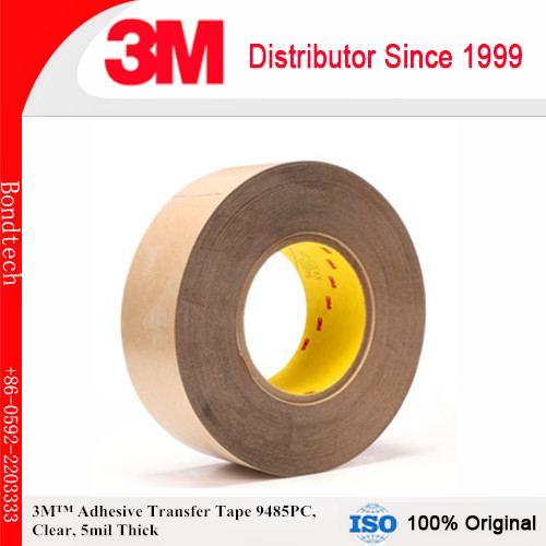 3M Adhesive Transfer Tape 9485PC Clear, 5 mil, 3 in x 60 yd 5 mil (Pack of 1) 3m positionable mounting adhesive 24 in x 50 ft clear 56824 dmi rl
