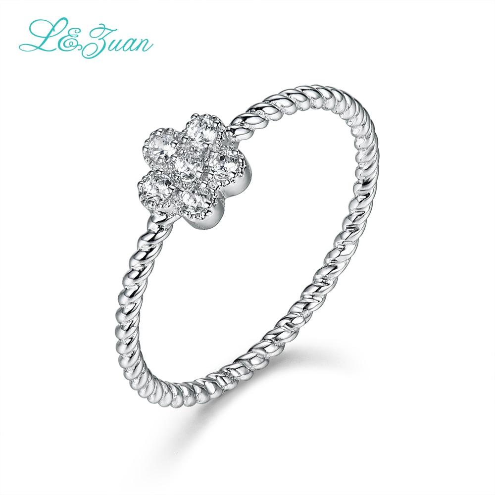 L & Zuan 14 Karat Weißgold Diamant Ringe Für Frauen Kleine Blume Design Edlen Schmuck Party Geschenk Ring Fashion Chic Zubehör 0019-1