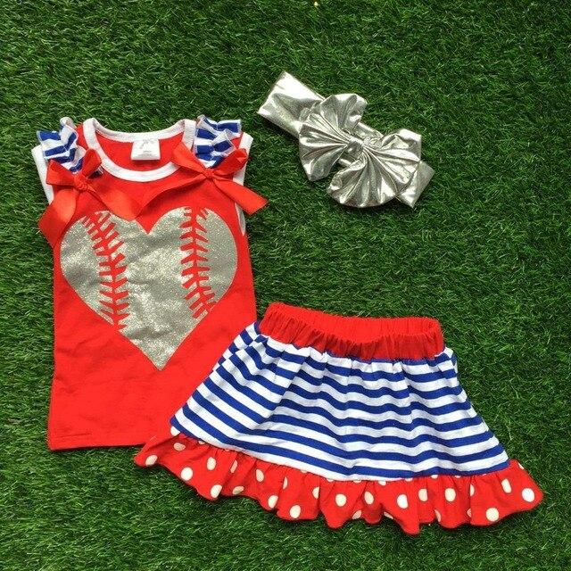 2016 новый ребенок бейсбол одежда красное сердце топ Девушки наряды платье набор летом наряды с соответствующими аксессуарами