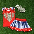 2016 new baby baseball clothes  red heart  top Girls outfits dress set summer outfits with matching accessories