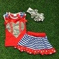 2016 nuevo bebé ropa de béisbol red heart top Girls outfits set vestido trajes de verano con accesorios a juego