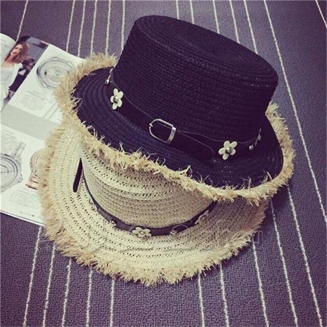 2016 new summer sun hats women's sun straw flower beautiful sun hats casual 2colors 1526263124