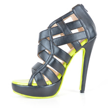 Cross-tied Soft Leather Women's Stiletto Cover Heel Platform Sandals With Fluorescent Green Sole zapatos mujer  Women Shoes