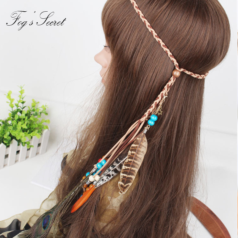 Feather Hairband Long Length Indian style Gypsy Bohemian Made For Peacock hair Wooden bead Beach Party Model Performance