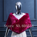 Stock Faux Fur Boleros de boda de borgoña mantón BridalEvening partido envolturas Cappa Tippet