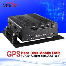 H.264 GPS de disco duro móvil Dvr 12 V D1 negro caja de equipo de monitoreo G-Sensor de e / s grabación del ciclo del automóvil del coche del registrador Dvr