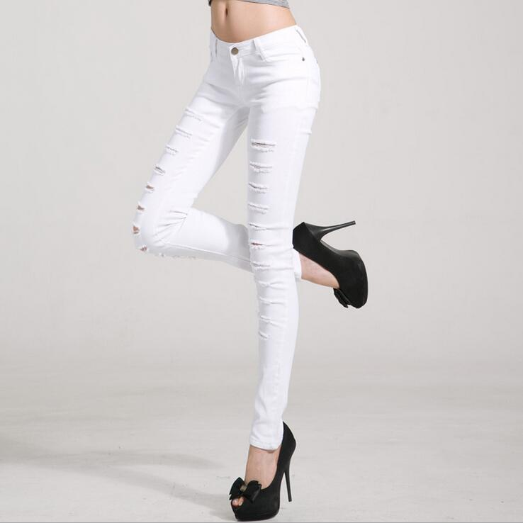 #3217 Black / white jeans with holes Pantalones mujer Korean Spring 2016 Skinny denim jeans womens Jeans strappati donna