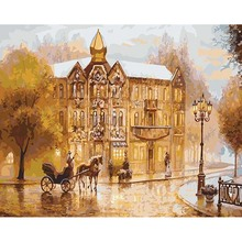 Europe Vintage Street Painting By Numbers On Canvas DIY Digital Home Decor Coloring Picture Christmas New Year Gift