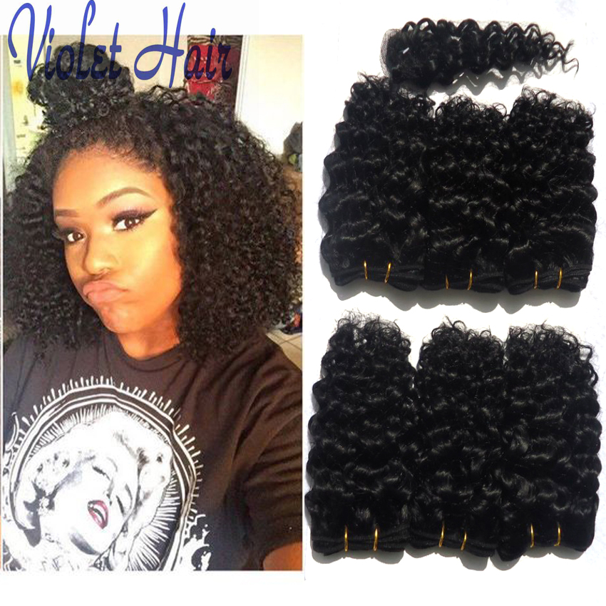 ... kinky Curly Natural Black 8 Inch Curly Weave Human Hair Crochet Braid