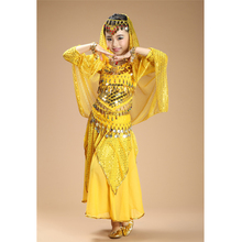 2016 Free shipping kids belly dance 4pcs(top+skirt+waist chain+veil) indian clothes yellow+h.pink+red girls belly dance costume