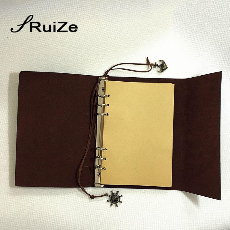 Vintage dagboek boek reizigers notebook A5 leer kraftpapier - Notitieblokken en schrijfblokken bedrukken - Foto 3