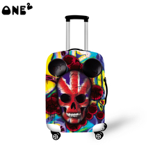 2016 ONE2 Design flag skull pattern printing  cover apply to 22,24,26 inch suitcase elastic travel accessories luggage cover