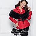 Le palais винтаж женщин красный шерсть твид пальто подходит элегантный v шеи длинным рукавом куртка pinup манто femme