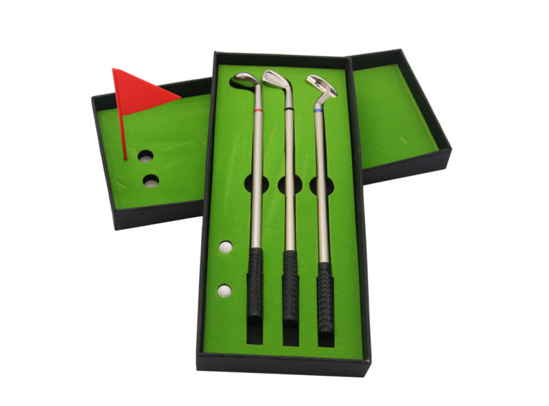 JOUDOO Office Supplies creative Decorations 0.7mm Metal material gel pen High-quality mini-golf driving range Gift Set simulation mini golf course display toy set with golf club ball flag