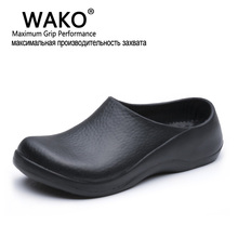 WAKO New Men's Chef Kitchen Working Slippers Garden Shoes Summer Breathable Beach Flat With Shoes Mules Clogs Men EVA
