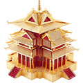ICONX Limited Edition Piececool 3D Metal Puzzle P075-RG DIY Puzzle 3D Model Toy, Watchtower Of Forbidden City Puzzle Adult Toys