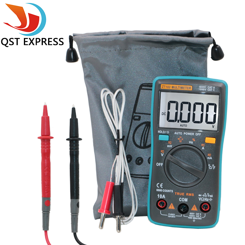 QSTEXPRESS ZT102 Multimeter 6000 counts Back light AC/DC Ammeter Voltmeter Ohm Frequency Diode Temperature auto digital multimeter 6000counts backlight ac dc ammeter voltmeter transform ohm frequency capacitance temperature meter xj23