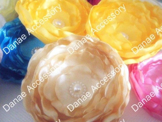 Романтическая атласная тканевый цветок для волос, свадебный головной убор, девушка/невесты/подружки невесты/цветок для волос, свадебные аксессуары для волос, 22 цвета