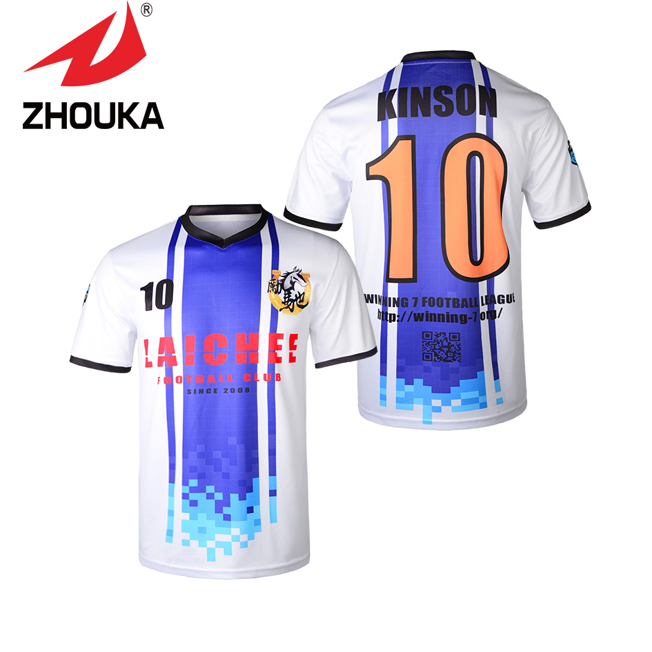 Customized Males's Soccer Uniforms Set Full Sublimation Print Any Shade And Personalised Sample Model Soccer Jerseys Voetbal Shits