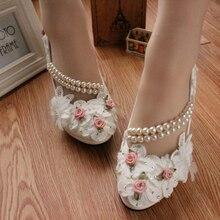 Elegante de La Boda blanca Zapatos Lace up Flor Zapatos de novia de Tacones Altos Mujeres Bombas 8 cm/4.5 cm/3 cm altura Del Talón Envío Gratis