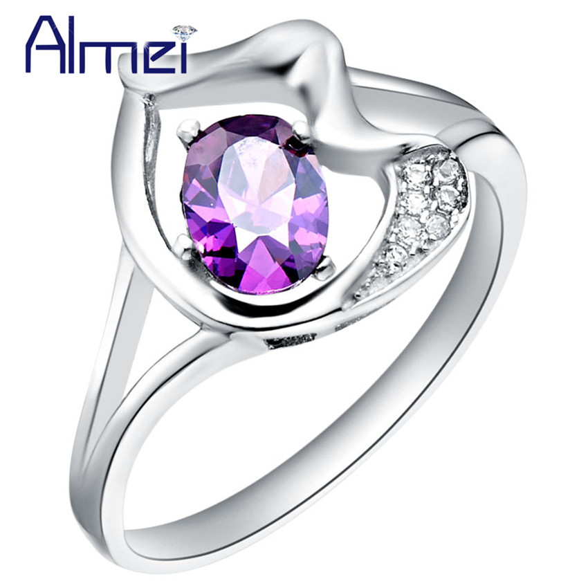 purple wedding ring aliexpress buy almei 5 rings for women silver 6921
