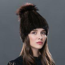 LTGFUR Real mink fur hat  knitted winter hat mink hat fox fur pom poms new  cap 2016 new hot sale high quality female beanies