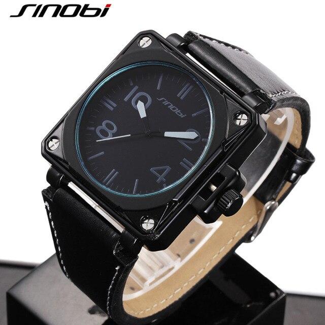 14dd57cab7a Sinobi relógio marca de quartzo dos homens do esporte preto ciclismo  corredor quadrado moda militar f1