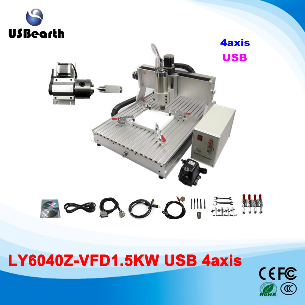 4 axis cnc router 6040Z-VFD cnc 6040 with USB PORT, ball screw, 1.5KW VFD water cooling spindle engraving machine usb port cnc milling machine cnc 3040 z vfd 4 axis limit switch 1 5kw vfd water cooling spindle cnc engraver